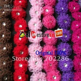 Wholesale Purple Hair Jewels - MIX COLOR baby Jewel rosette flower clips,children hair accessories flower,kids hair flower,baby clo