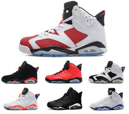 Wholesale Cheap Baskets For Sale - Free Shipping 2018 mens basketbal shoes 6 cheap Olympic red black Infrared Carmine Sneaker Sport Shoe For Online Sale size 8 - 13