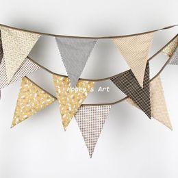 2019 ленточные баннеры Оптовая продажа-новый 3.5 M большие флаги коричневая ткань овсянка ручной личности Свадьба День Рождения украшения душа ребенка настроить гирлянды