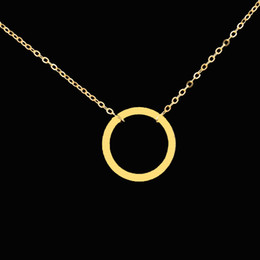 Wholesale Karma Circle - Wholesale-DIANSHANGKAITUOZHE Collares Mujer Stainless Steel Statement Necklace Geometric Gold Tattoo Chain Simple Circle Karma Necklace
