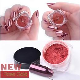 Wholesale Gold Glitter Powder - New 2g Nail Glitter Rose Gold Mirror Chrome Powder Dust Shiny Magic Mirror Effect Nails Art Pigment Manicure Decorations 2017