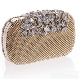 Wholesale Satin Bridal Evening Bag - Luxurious Diamond Crystals Women Bridal Party handbags Clutch Evening Bags Black Silver Gold with Chains