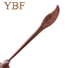 Wholesale Trendy Wooden Jewelry - YBF Red Sandalwood Wooden Trendy Hair Sticks Plant Leaf Hair Pins Wedding Accessory Bride Clips Jewelry Lover Diadema Women