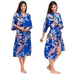 Wholesale Silk Plus Size Kimono Robe - Wholesale- Jewelblue Women Bathrobes Japanese Yukata Kimono Satin Silk Vintage Robe Sleepwear Plus Size S-XXXL 15 Colors Nightgowns 010418