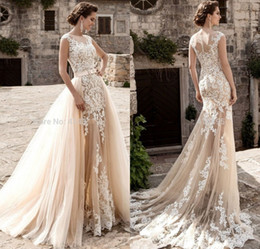 Wholesale See Through - Vintage Champagne Lace Mermaid Wedding Dresses 2017 Detachable Tulle Appliques Vestido De Noiva Sexy See Through Wedding Dress