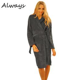 Wholesale Fleece Sleepwear Women - Wholesale- Brand New Women Nightwear Robes Long Coral Fleece Night-robe Sleepwear Winter Warm Bathrobe Female 5 Colors