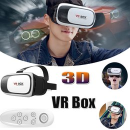 Wholesale Bluetooth Headset Smartphone - VR BOX Version 3D VR Virtual Reality 3D Glasses Google Cardboard Headset Bluetooth Mouse Remote Control For Smartphone With Retail Package