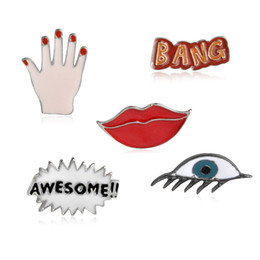 "Wholesale Wholesale Lips Pin - Wholesale- 5 pcs set ""AWESOME!! BANG"" Letters Brooches Sexy Red Lip Hand Eyes Punk Shirt Collar Jacket Bagde Pins Fashion Jewelry Wholesale"