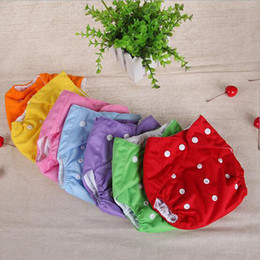 Wholesale Diapers Can - 100% Cotton Adjustable Washable Baby Cloth Diapers Reusable Baby Cloth Nappy 44*47cm About 7 Color can choose