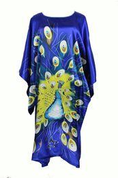 Wholesale Kaftan Dresses Wholesale - Wholesale- Novelty Blue Print Peacock Silk Rayon Robe Dress Chinese National Ladies Nightgown Plus Size Yukata Kaftan Bathrobe Gown RB019