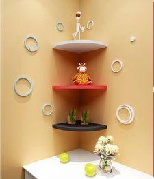 Wholesale Bolt Holders - 3PCS Set Triangle fan Bedroom Wood Bathroom Shelves Creative Home Storage Holder Decorative Wall Shelves for Kitchen,Living Room