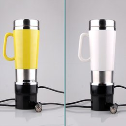 Wholesale Electric Base - Car Based Heating Cup Pink Yellow Or White Travel Bpa Free Bottles Car Adapter Coffee Cup Electric Mug Stainless Steel Mugs