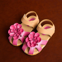 Wholesale Princess Protection - Girls Sandals Princess Shoes Floral Toe Protection Big Flower Bowknot Summer Style Anti-slip Rubber Sole Hook&Loop