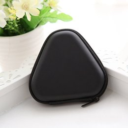 Wholesale Door Storage - 2bx Case Triangle Black Fidget Spinner Pouch Hand Spinner Toys Bluetooth Headset Storage Bags Compressive Container Portable Cases Hot Sale