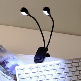 Wholesale 12v Book Light - Hot Worldwide 2 Dual Flexible Arms 4 LED Clip-on Light Lamp for Piano Music Flexible Stand Reading Book