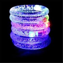 Wholesale Wholesale Children Acrylic Bangle - LED Flash Blink Glow Color Changing Light Acrylic Children Toys Lamp Luminous Hand Ring Party Fluorescence Club Bracelet Bangle Xmas DHL