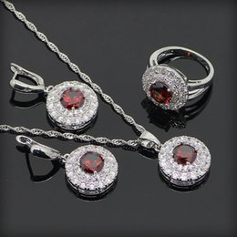 Wholesale Wedding Ring Pendant - Fashion Jewelry Womens Ring Necklace Earrings Set Crystal Ruby Pendant Necklaces Women Copper 925 Silver Plated Chain Blue Topaz Rings Sets