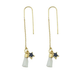 Wholesale Pink Chandelier Jewelry - Gold-Color Long Chain With Pink White GrayTassel Jewelry Earrings Star Pattern Drop Earrings For Women Accessories