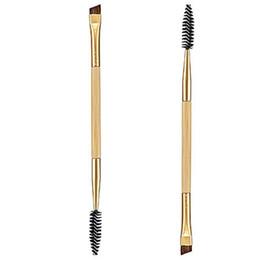Utensile pettine ciglia online-Wholesale- 1 PZ Trucco Bamboo Handle Double sopracciglio pennello + sopracciglio pettine ciglia e strumenti pennello trucco nuovo commercio all'ingrosso