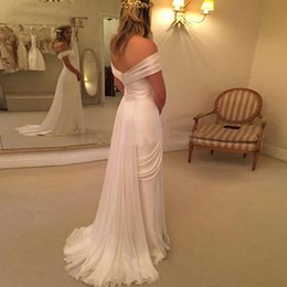 Wholesale Elaborate Dresses - Sexy Wedding Dresses New 2017 Simple White Elaborate Flowy Comfy A Line Tiers Split Front Chiffon Off Shoulder Sleeveless Backless Lace-up