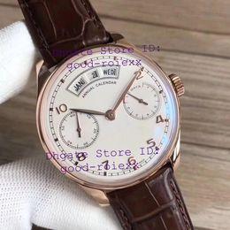 Ver reserva de energía del día online-Lujo Oro rosa para hombre Cal.52850 automático Reloj para hombre Calendario anual Día Hora Power Sapphire Relojes de cuero Fecha de reserva Relojes