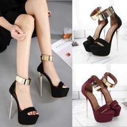 Wholesale Party Golden Sandals - 2017 New Unique sandals shoes women sandals Sexy 16CM Superb High Heel Platform Golden Metal Buckle Stiletto Fashion Gladiator free shipping