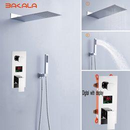 "Wholesale Bath Mixer Rain - Luxury Rain Bath Combination Shower Mixer Digital Wall Mounted Stainless Steel 20"" Rainfall Shower Head Chrome Polished Shower"