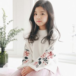 Wholesale Girls Set Skirt Top - Kids princess outfits grils flowers embroidered sweater shirt tops children tulle pleated skirt 2017 spring new girls sets A0461