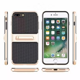Amortecedor da fibra do carbono do iphone on-line-Fibra sintética premium bumper com suporte de capa case [fibra de carbono] para samsung galaxy s7 s7 edge / para iphone 5s 6 6 s plus 7 7 mais