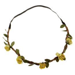 Wholesale Celtic Crystal Headband - Yellow Rose Wedding Accessories Bohemian Boho Hairpink Crystal Flower Wedding Tiara Women Wedding Elastic headband With Flowers HYHX1114