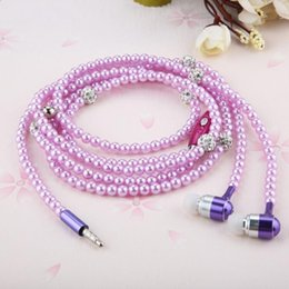 Wholesale Wired Pearl - Rhinestone Jewelry pearl Necklace Earphones with Mic Beads 3.5mm In-ear Hi-Fi Wired Headphone For Xiaomi iPhone samsung Phone