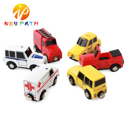 Wholesale Toys Trains Set - Smooth Flawless Wooden Small Car models Jeep Ambulance Fire truck Taxi Police car  Convertible car Children Kid Connectable Magnetic Trolley