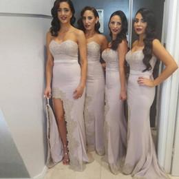 Wholesale Long Bridesmaid Dresses Slit - Elegant Long Bridesmaid Dresses Lace Appliques Mermaid Long Slit Prom Dress Sexy Bridesmaid Dress Wedding Party Gowns