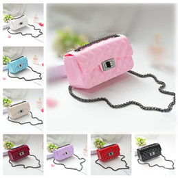 Wholesale Kids White Purse - New Shoulder Bag Fashion Kids Messenger bags Kid Girl Purse Designer Candy Color Women Mini Jelly Bag Stylish Baby Products 18 Colors CK096