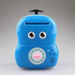Wholesale Electronic Saver - Electronic Suitcase Money Bank Piggy Money Locker Coins Cashes Auto Insert Bills Safe Box Suitcase Money Saver Creative Gift For Kids