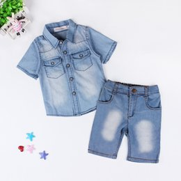 Wholesale Boys Kids Pants Shorts Jeans - Kids boys denim shirt 2pc set blue short sleeve shirt+pants infants summer casual jeans outfits for 2-7T