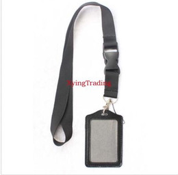 Wholesale Credit Card Holder Lanyard - 10pcs Black Lanyard With Buckle and 10pcs ID Card Credit Card Holder PU vertical
