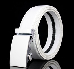 Wholesale red white blue striped flag - 2017 Men's Genuine Leather Solid White Belt Fashion Automatic Buckle Belts Waistband