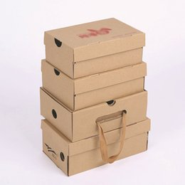 Wholesale Shoe Gift Packaging - 100 psc different sizes Brown Packaging craft Paper Box For Shoes Apparel Handmade Gift Package Mailing Box Shoes boxes