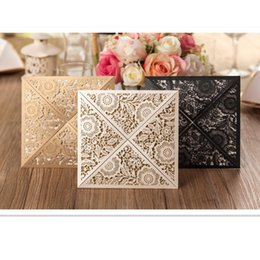 Wholesale Wedding Invitations Inserts - Wholesale-12sets Design Rustic Gold beige Wedding Invitations Laser Cut Invitation Cards With Insert Paper Blank Card Envelope