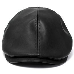Wholesale Peaked Cap Leather - Wholesale-2016 Hot Men's Women's Faux Leather Peaked Cap Newsboy Bonnet Beret Cabbie Gatsby Flat Hat