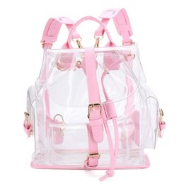 Wholesale Styles Plastic Bag - Wholesale- Xiniu Women's Backpack Clear Plastic See Through Security Transparent Backpack Bag Ladies Travel Bag #GHYW