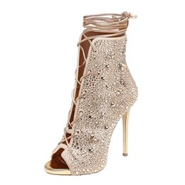 Wholesale Rhinestone Peep Toes - Fashions Rhinestone Peep Toe Shoes Women High heels Stiletto Heel Gladiator Sandals Boots Ladies Crystal Lace Up ankle booties
