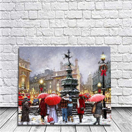 Wholesale Paris Art Canvas - Framed Christmas Street In Paris DIY Painting By Numbers Drawing By Painting Kits Painting Hand Painted On Canvas For Home Wall Art Picture
