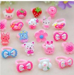 Wholesale Color Rings Plastic - Children Girls Baby Kids Toddlers Flower Animals Heart Rings Jewelry Gift Summer Dress Accessories Candy Color Princess Finger Ring Free DHL