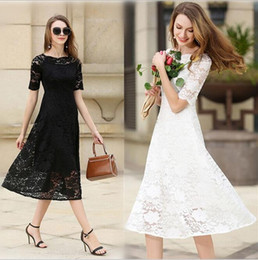Wholesale Evening Thin Dresses - 2017 Fashion Slim Thin Tea Length Lace Dresses With Short Sleeves Bateau Neck Solid Color Long Skirts For Women S09