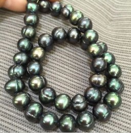 Wholesale Purple Tahitian Pearls - tahitian 10-11mm peacock green ringed pearl necklaces 18inch