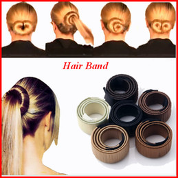 Wholesale Bun Accessories - Hair Accessories Synthetic Wig Donuts Bud Head Band Ball French Twist Magic DIY Tool Bun Maker Sweet French Dish Made Hair Band bea451