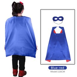 Wholesale Red Superhero Cape - FREE DHL 70*70cm Blue-Red superhero cape for birthday party Christmas costume dress up Carnival boy cosplay