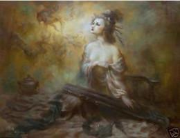 Tela moderna con cornice, puro dipinto a mano la fata Kwan-yin lady decorazione della parete pittura a olio di arte tela di qualità multi formati spedizione gratuita r04 da pittura kwan yin fornitori
